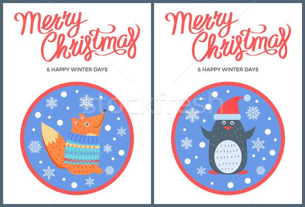 веселый Рождества зима вектора Fox пингвин Сток-фото © robuart