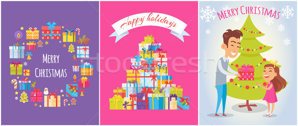 Merry Christmas and Happy Holidays Bright Banners Stock photo © robuart