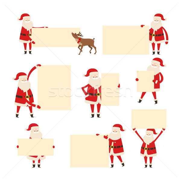 Santa with Empty Banner Isolated on White. Vector Stock photo © robuart