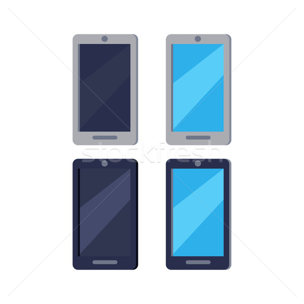 Modern Cellphones Flat Vector Icons Set Stock photo © robuart