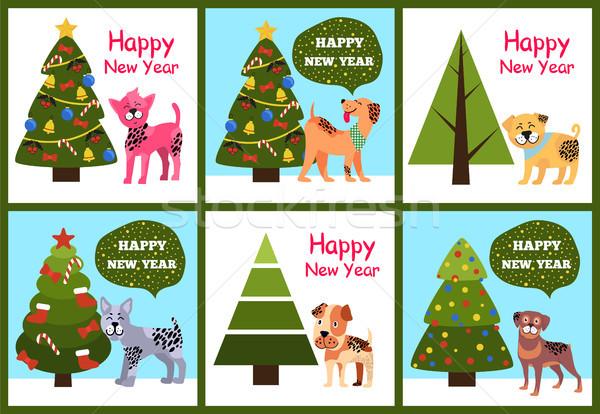Stok fotoğraf: Happy · new · year · posterler · ayarlamak · Noel · ağaçlar · yavru
