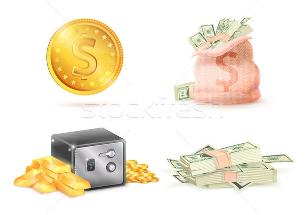 Dourado moeda cifrão saco completo dinheiro Foto stock © robuart