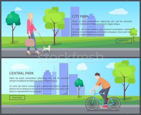 セントラル 市 公園 色 バナー 女性 ストックフォト © robuart