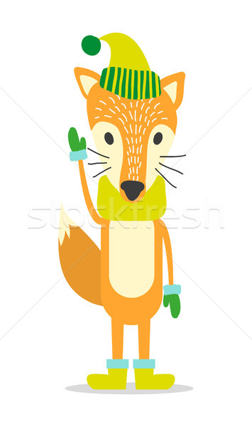 Stock photo: Red Fox in Warm Hat, Cozy Scarf and Wool Mittens