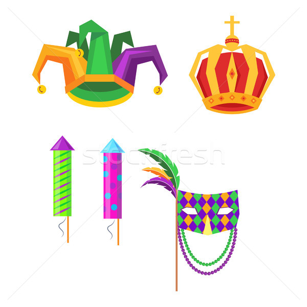 Mardi Gras Carnival Attributes Vector Icons Set Stock photo © robuart