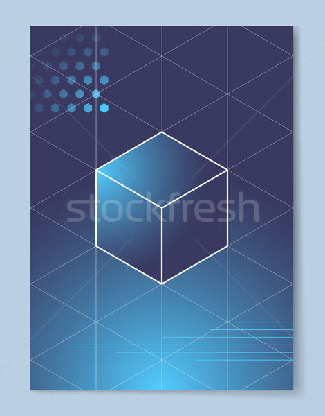 Cube with White Outline on Gradient Background Stock photo © robuart