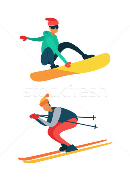 Man Snowboarding, Riding Down on Skis Winter Sport Stock photo © robuart