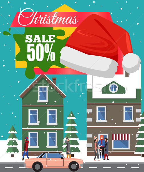 Christmas Sale -50 Off Poster Vector Illustration Stock photo © robuart