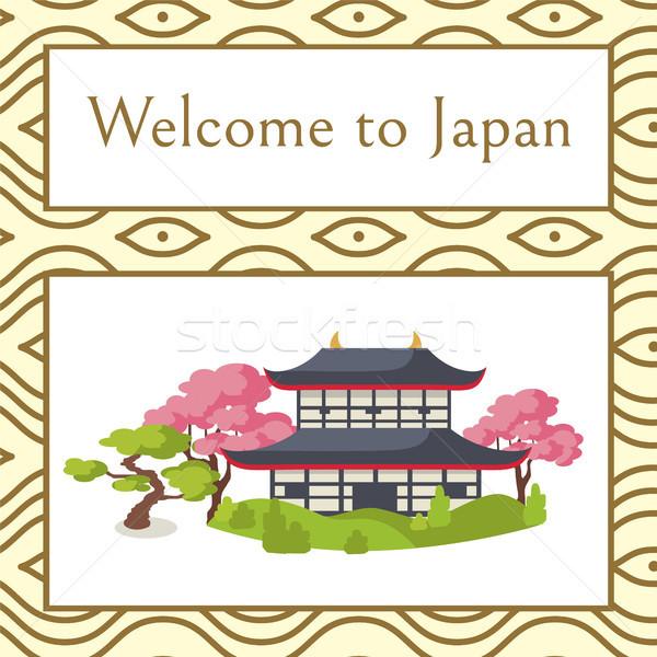 Bem-vindo Japão cartaz tradicional casa sakura Foto stock © robuart