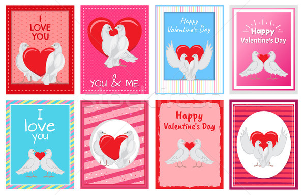 Casal grande coração cartões postais conjunto branco Foto stock © robuart