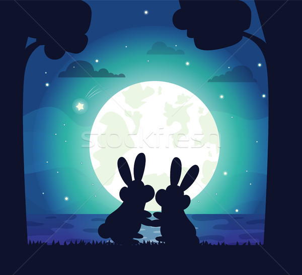 Silhouette of Night Sky and Bunny Vector Stock photo © robuart