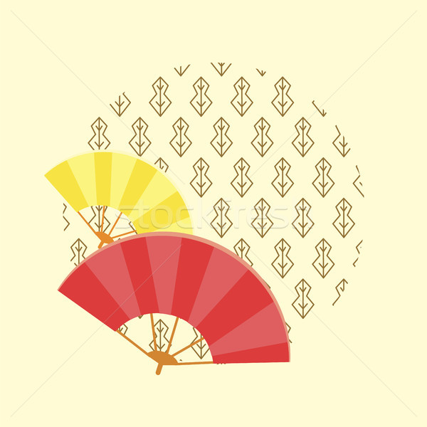 Japanese Traditional Fans and Pattern in Circle Stock photo © robuart