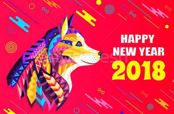 Happy New Year 2018 Creative Poster with Dog Head Stock photo © robuart