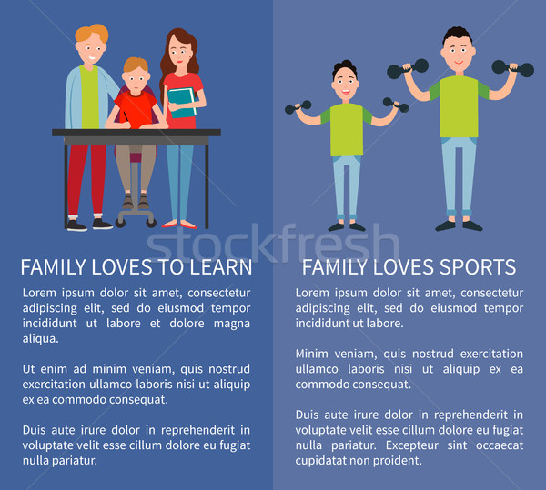 Family Loves Sports and to Learn Two Color Banners Stock photo © robuart
