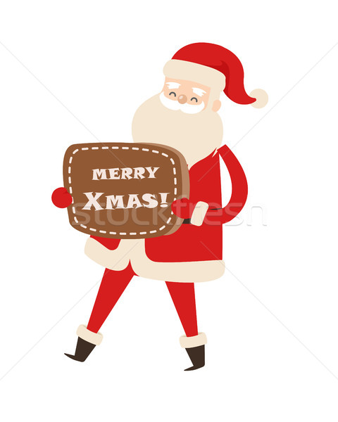 Smiling Santa Claus with Brown Table Merry Xmas. Stock photo © robuart
