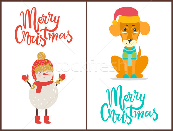 Merry Christmas Congratulation with Winter Symbol Stock photo © robuart