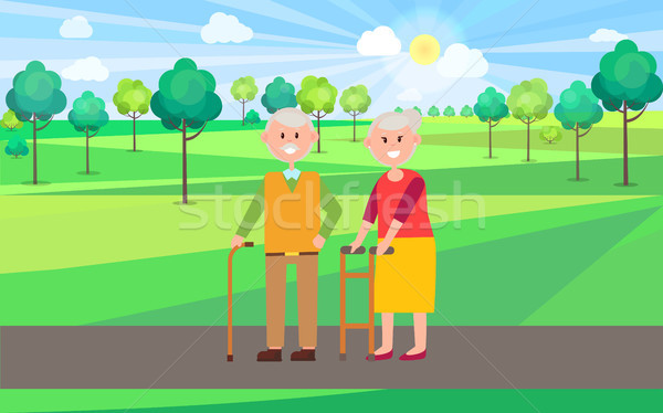 Granny and Granddad Poster Vector Illustration Stock photo © robuart