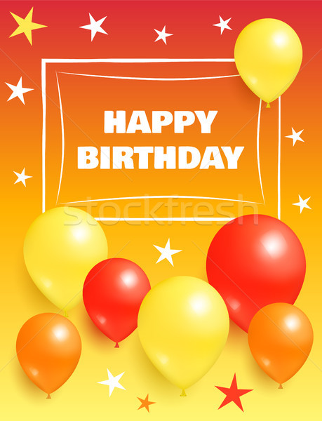 Stockfoto: Gelukkige · verjaardag · ballonnen · oranje · Geel · Rood