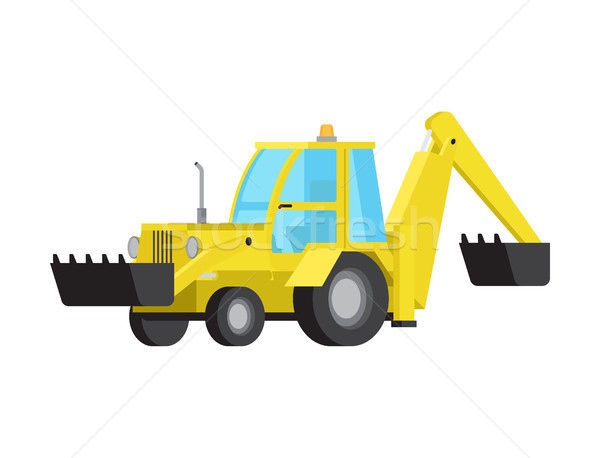 Loader with Excavator Bucket Flat Vector Isolated Stock photo © robuart