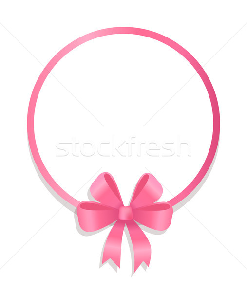 Round Pink Border Decorated by Silk Bow Vector Stock photo © robuart