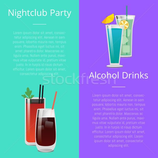 éjszakai klub buli alkohol italok meghívó poszter Stock fotó © robuart