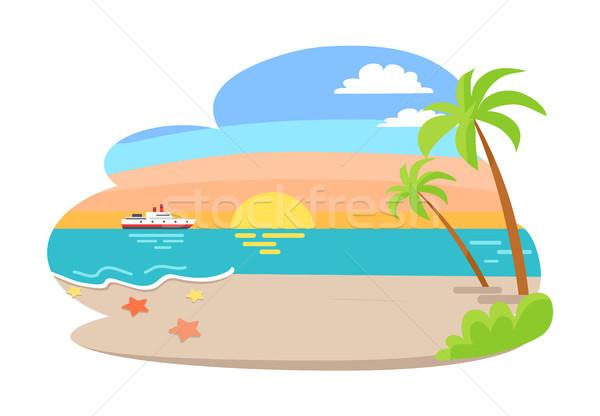 Tropical ver verão beira-mar nascer do sol palmeira Foto stock © robuart