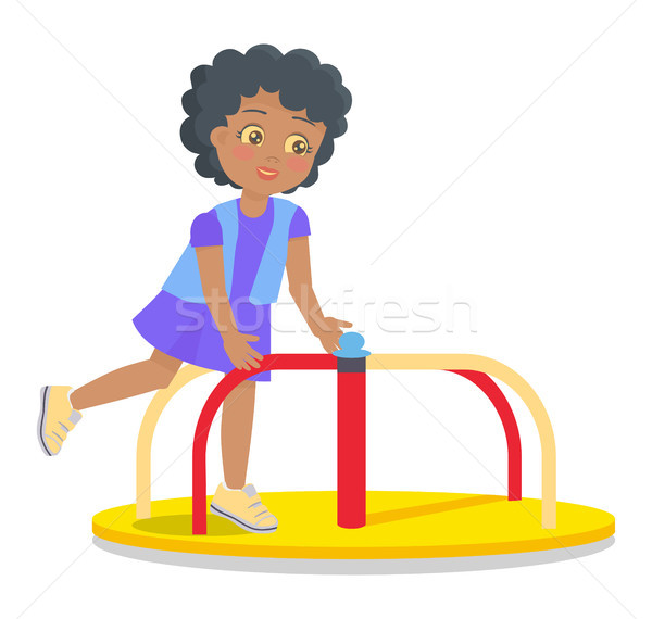 Swinging Round Carousel for Children s Playground Stock photo © robuart