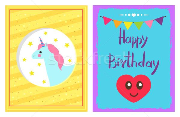 Boldog születésnapot szett főcím kártyák kép csillagok Stock fotó © robuart