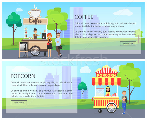 Coffee and Popcorn Kiosk, Street Food Posters Stock photo © robuart