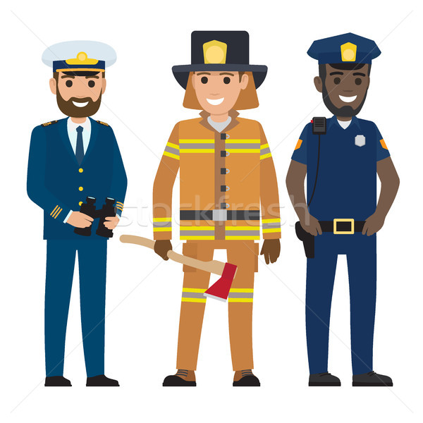 Concept of Captain, Firefighter and Police Officer Stock photo © robuart