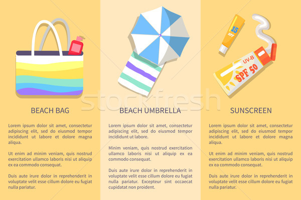 Establecer carteles paraguas protector solar colección Foto stock © robuart
