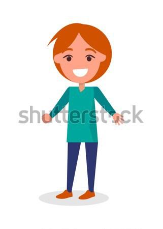 Glimlachend jongen trui broek geïsoleerd witte Stockfoto © robuart