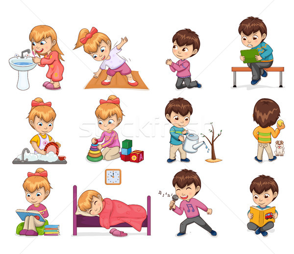 Girl and Boy Collection Set Vector Illustration Stock photo © robuart