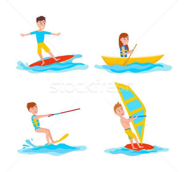 Nyár sport gyűjtemény szett tevékenységek szörfözik Stock fotó © robuart
