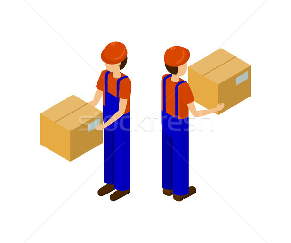 Male with Cardboard Parcel Production Line Worker Stock photo © robuart