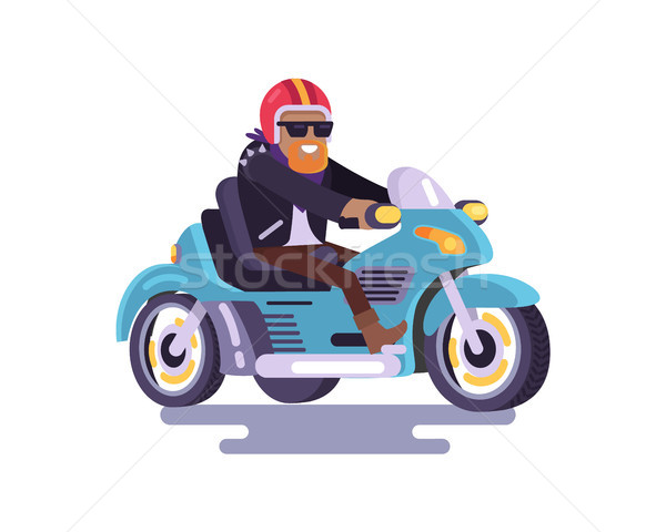 Cheerful Bearded Man on Blue Motorcycle Color Card Stock photo © robuart