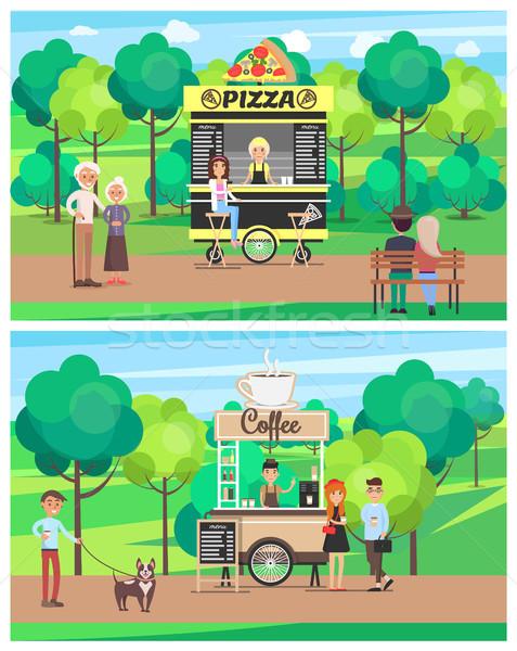 ピザ コーヒーショップ セット ポスター 人 徒歩 ストックフォト © robuart