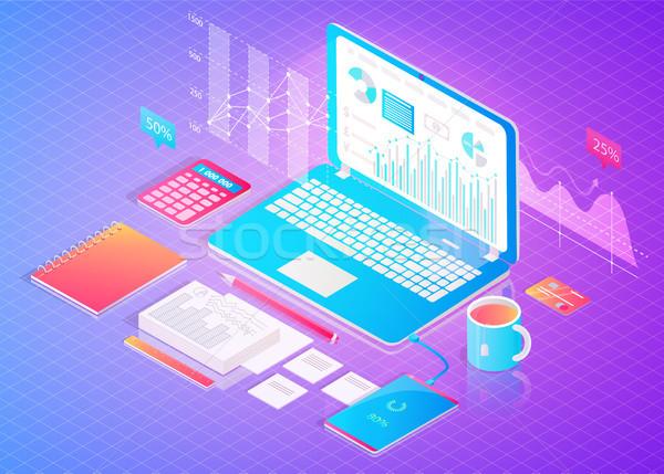 Digital financiar analítica anunciante abierto portátil Foto stock © robuart