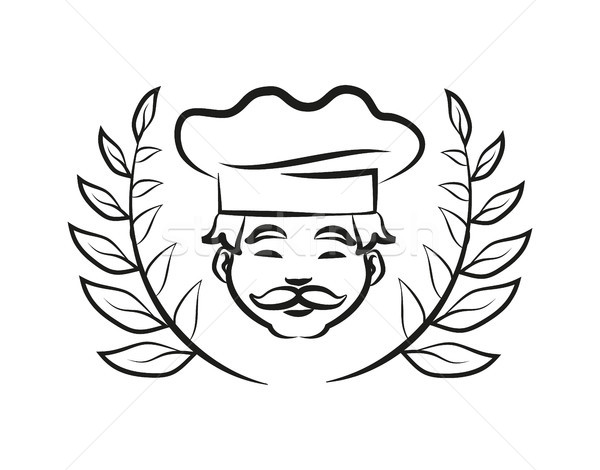 Chef Wearing Hat Laurel Branch Vector Illustration Stock photo © robuart