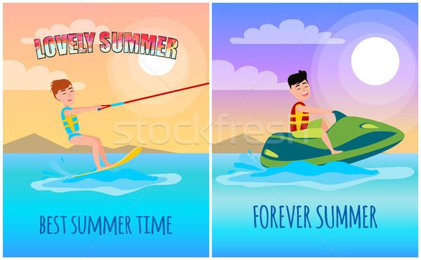 Para sempre verão o melhor tempo vetor cartaz Foto stock © robuart