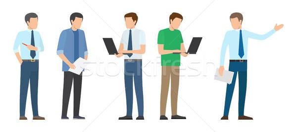 スタートアップ ポスター 男性 ビジネスマン 紙 ストックフォト © robuart