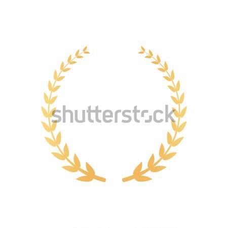 Embléma babér ágak arany levelek ikon Stock fotó © robuart