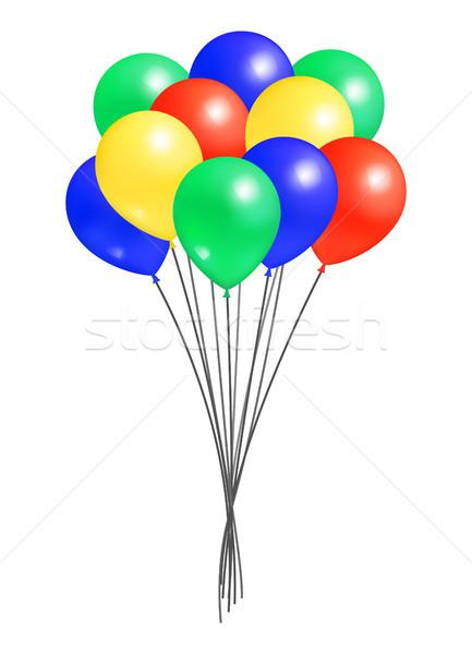 Köteg hélium színes levegő léggömbök izolált Stock fotó © robuart