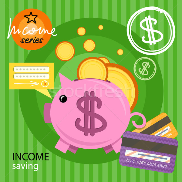 Piggy bank with coins income series Stock photo © robuart