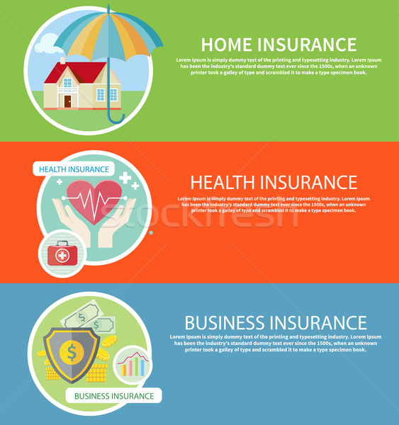 Insurance icons set Stock photo © robuart