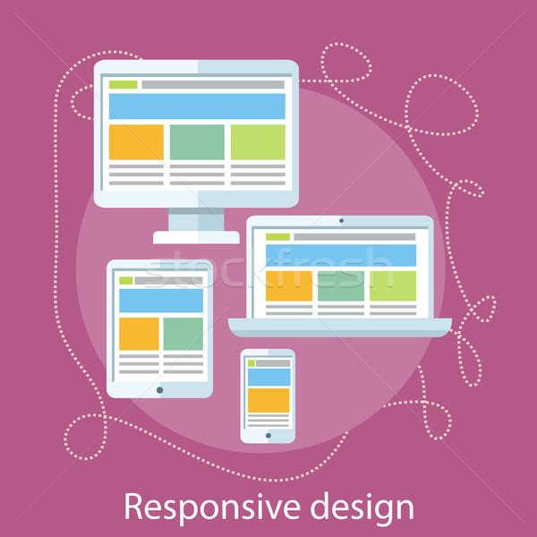 Duyarlı web tasarım kavram web hareketli uygulamaları Stok fotoğraf © robuart