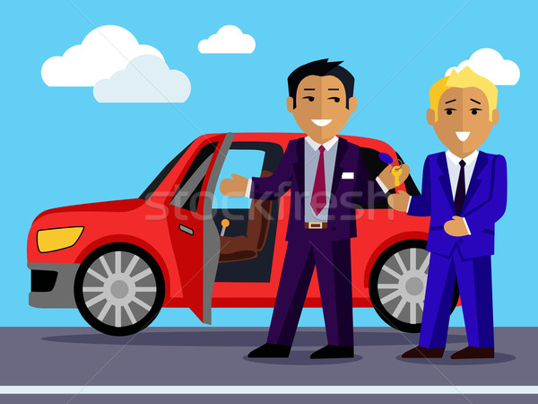Illustration of Man Buys a New Car Stock photo © robuart