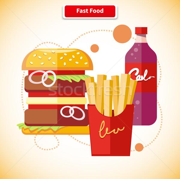 Fast food iconen hamburger soda drinken Stockfoto © robuart