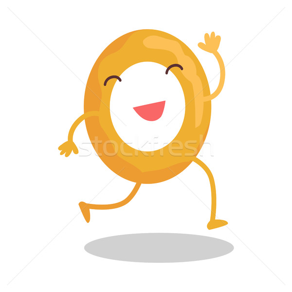 Donut Running Away Isolated on White. Funny Food Stock photo © robuart