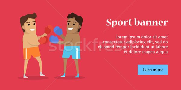 Kettő férfi box sportok szalag rövidnadrág Stock fotó © robuart